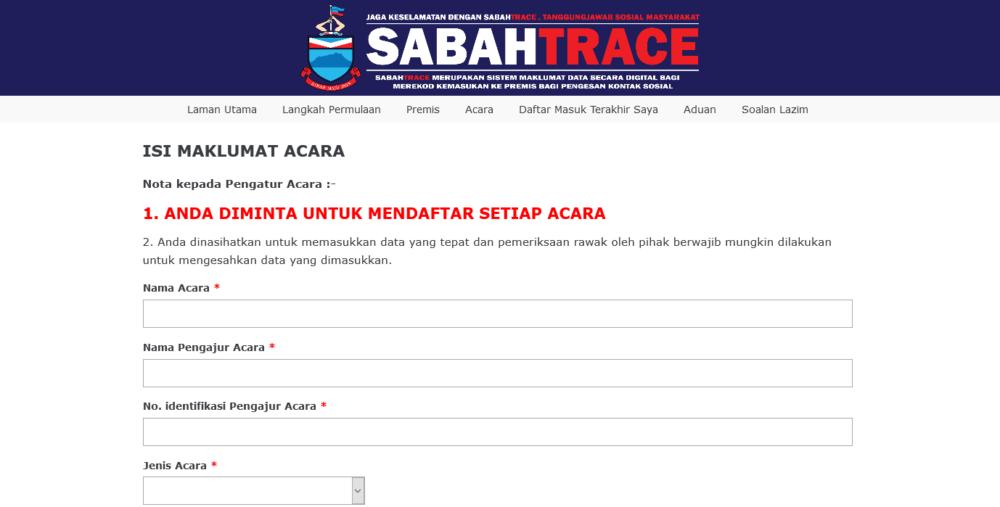 Daftar Sabah Trace Online