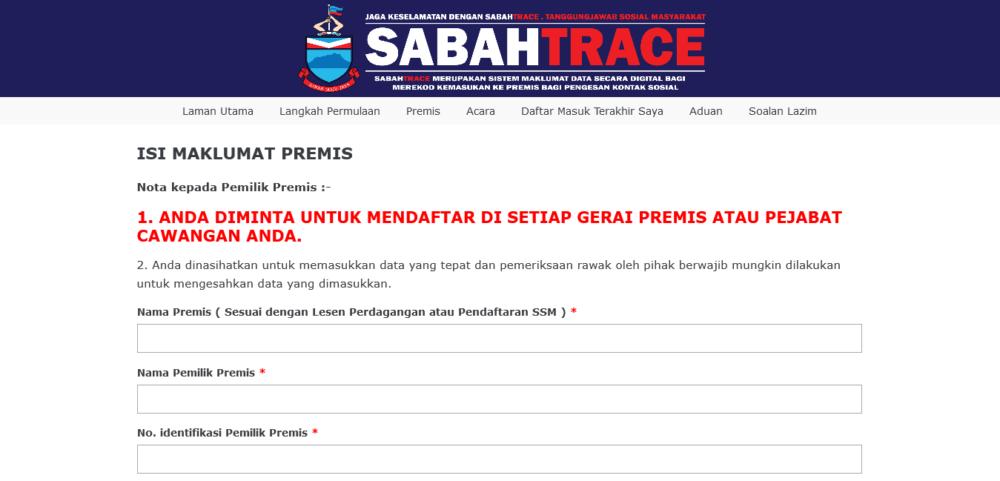 Daftar Sabah Trace Online: