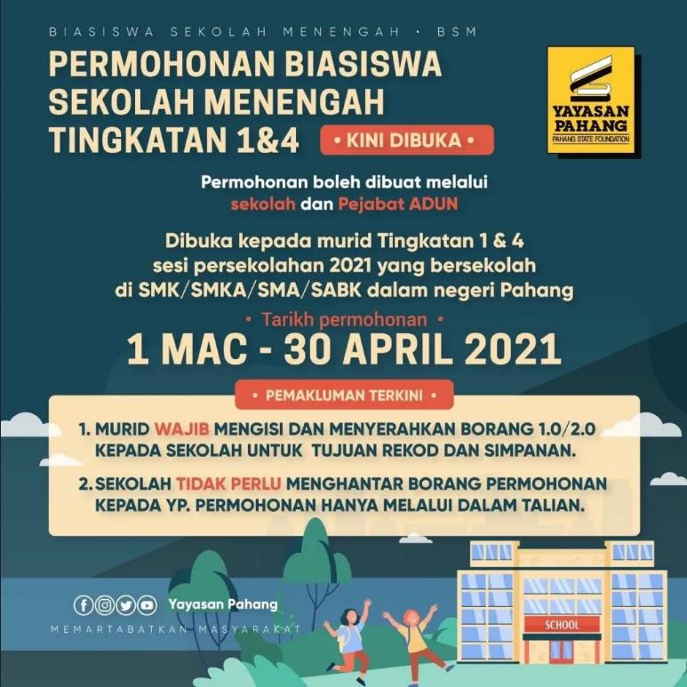 Permohonan Biasiswa Yayasan Pahang Online 2021