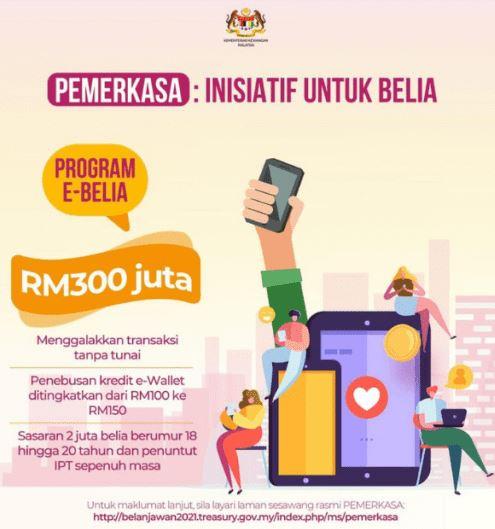 PEMERKASA 2021: Bantuan Kredit eWallet RM150 Golongan Belia