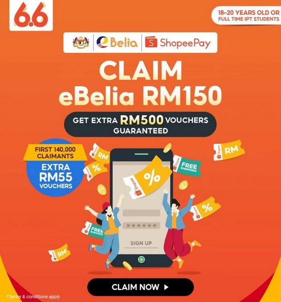 Tebus Kredit RM150 eBelia Di Shopee Pada 1 Jun 2021